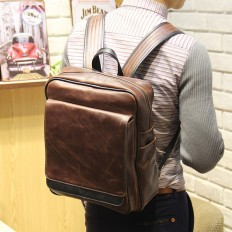 Men's Rucksack 15 inch Laptop Bag Leather Backpack – Shop with Hearts