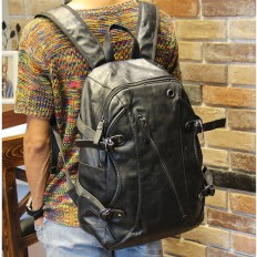 Vintage Men's Black Large Laptop Bag Leather Backpack – Shop with Hearts