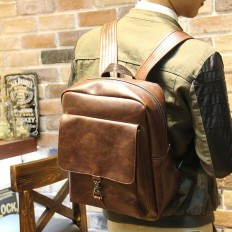 Vintage Men's 14 Inch Laptop Bag Brown Leather Backpack Travel Bag – Shop with Hearts