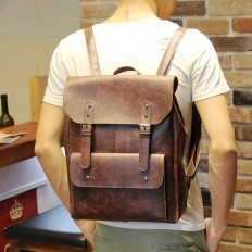 Men's 14 Inch Laptop Bag Leather Travel Backpack – Shop with Hearts
