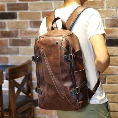 Vintage Men's Brown Leather Zipper Travel Backpack – Shop with Hearts