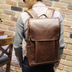 Men's Laptop Bag Brown Leather Travel Backpack – Shop with Hearts