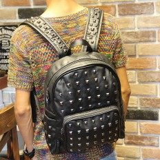 Men's Black Studded Rucksack Laptop Bag Leather Backpack Travel – Shop with Hearts