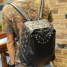 Vintage Men's Black Studded Laptop Bag Leather Backpack Travel – Shop with Hearts
