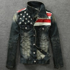 Men's American Flag Denim Jacket Slim Fit Long Sleeve Outwear – Shop with Hearts