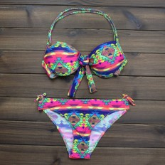 Women's Push up Halter Aztec Tribal Ethnic Bikini Swimsuits – Shop with Hearts