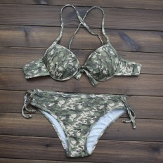Women's Camo Printed Push up Halter Bikini Swimsuits Two Pieces – Shop with Hearts