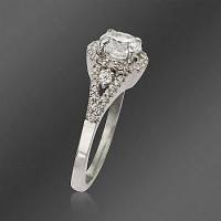Ross-Simons - Gabriel Designs. Vintage-Style .38 ct. t.w. Diamond Engagement Ring Setting In 14kt White Gold - #491804