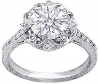 Engagement Ring - 14K White Gold Round Diamond Edwardian Vin... - Polyvore