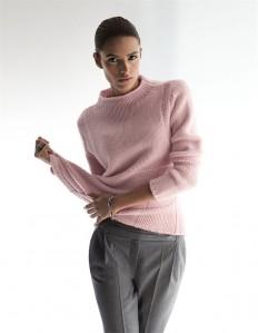Damen Kaschmirpullover mit Stehkragen in den Farben puderrosé, helltaupe, mintgrün, wollweiß, grau - elfenbein - rosa, taupe, grün, weiß - im MADELEINE Mode Onlineshop
