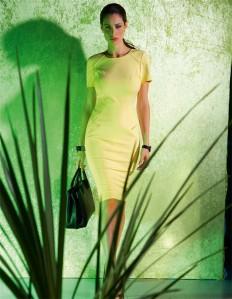 Schmales, knielanges Etuikleid in den Farben vanille, schwarz - gelb - im MADELEINE Mode Onlineshop