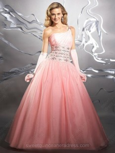 Buy One Shoulder Ball Gown Satin Organza Floor-length Beading Prom Dresses Online - sweetquinceaneradress.com