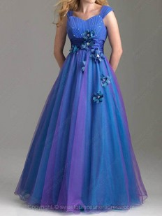 Buy Off-the-shoulder A-line Satin Tulle Floor-length Beading Quinceanera Dresses Online - sweetquinceaneradress.com