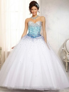 Buy Ball Gown Sweetheart Tulle Satin Floor-length Beading Quinceanera Dresses Online - sweetquinceaneradress.com
