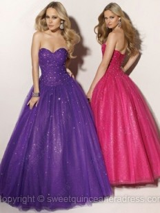 Buy Sweetheart Ball Gown Satin Tulle Floor-length Beading Prom Dresses Online - sweetquinceaneradress.com