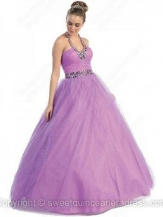 Buy Halter Ball Gown Tulle Taffeta Floor-length Rhinestone Quinceanera Dresses Online - sweetquinceaneradress.com