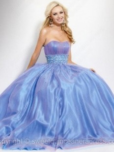 Buy Strapless Princess Tulle Elastic Woven Satin Floor-length Rhinestone Prom Dresses Online - sweetquinceaneradress.com