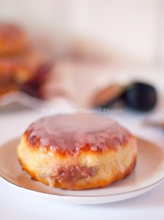 Doughnuts with Cream Cheese Caramelized Fig Filling & Hibiscus Glaze | A Cookie Named Desire