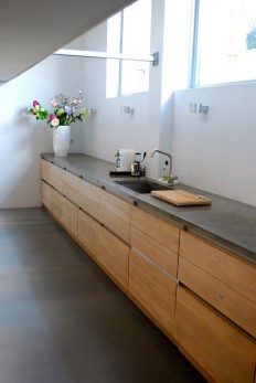 Wood cabinets with concrete countertops | #saltstudionyc | Home - kitchen | Pinterest | Lasy