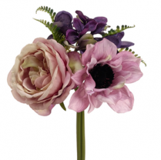 "7.5"" Rose, Hydrangea & Anemone Silk Flower Bouquet -Lavender/Purple"