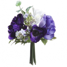 "8.5"" Anemone & Lilac Silk Flower Bouquet -Blue/White"