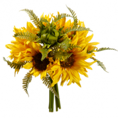 "9"" Sunflower & Fern Silk Flower Bouquet -Yellow"