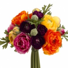 "9"" Ranunculus Silk Flower Bouquet -Purple/Orange"