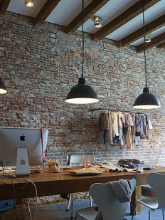 Industrial study – This workspace is adorned the brick wall on Inspirationde