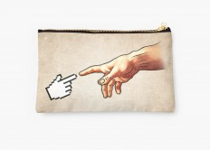 """Funny 8bit Nerd & Geek Humor (Creation of Adam Parody)"" Studio Pouches by badbugs 