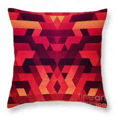 "Abstract geometric triangle texture pattern design in diabolic future red Throw Pillow for Sale by Philipp Rietz - 14"" x 14"""