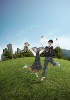 Heterosexual Couple Cloud Adolescence Laughing | Stock Illustration | Photokore