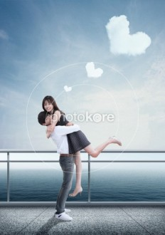 Couple Heart Shape Sky Embracing | Stock Illustration | Photokore