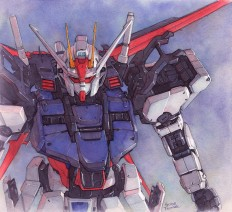 Strike Gundam watercolor on