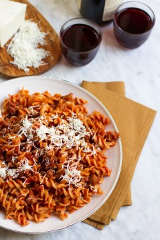 {Fusilli Alla Salsiccia} Pasta With Tomato Sugo, Sausage, and Smoked Cheese