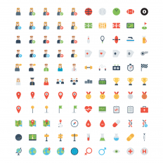 740 Simple flat icon set on