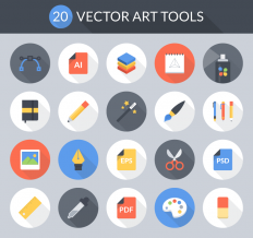 Freebie: Flat Vector Art Tools Icon Set