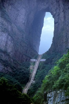 Heaven's stairs in Tian Men Shan, China on Inspirationde