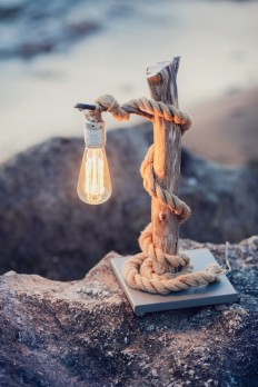Driftwood lamp with rope. Home decor. on Inspirationde