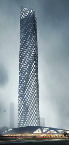 Nanning Tower, Nanning, China :: 60 floors, height 245m, | ARCHITECTURE • EXTERIOR | Pinterest | Towers, China and Proposals