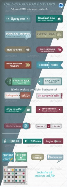 Call-To-Action Buttons Vol.II | GraphicRiver