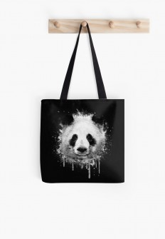 """Cool Abstract Graffiti Watercolor Panda Portrait in Black & White "" Tote Bags by badbugs 