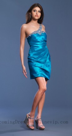 Homecoming Dresses One Shoulder Blue Taffeta Short Bejeweled Cheap 618UF7,Short Homecoming Dresses,Homecoming Dresses Cheap,Homecoming Dress Stores,Homecoming Dresses Online,Cheap Homecoming Dresses