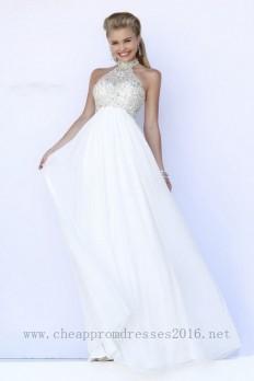 Elegant Halter Floor-length Chiffon White Evening Dress Cassie08011 WE018M,Cocktail Dresses,White Cocktail Dresses,Prom Dresses 2016,Prom Dresses Cheap,Cheap Prom Dresses,Discount Prom Dresses
