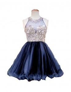 TDHQ Women's Beaded Jewel Crystals Sequins Sheer Back Zipper Short Homecoming Dress | Amazon.com