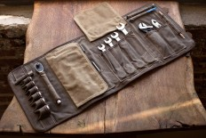 IN STOCK: THE ORIGINAL TOOL BOOK ™ (Sage Waxed Cotton & Leather Motorcycle Tool Roll) — Cotter Pin Motorcycle Gear Brooklyn NYC & Portland, ORE. | Motorcycle Gear | Travel Gear | Handmade Quality USA
