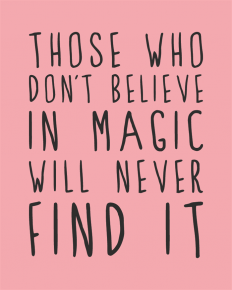 """Those who don't believe in magic will never find it."" - Google zoeken"