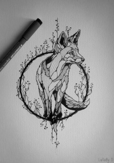 Tattoo design : Fox on Inspirationde