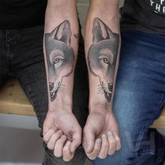 Unique Split Tattoo Concept With Animals Faces by Valentin Hirsch on Inspirationde