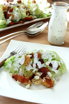 Iceberg Wedge Salad with Bacon, Croutons and Buttermilk Herb Dressing | Creative Culinary
