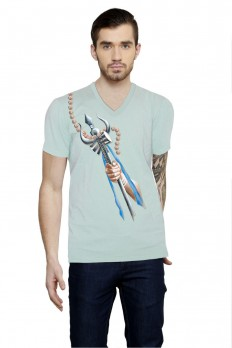 Hand-painted Shiva's Trident Aqua T-shirt – Rang Rage